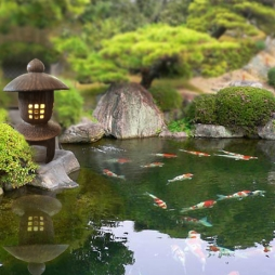 Đèn gốm trang trí sân vườn phong cách Nhật Bản
