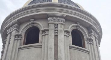 Công trình Biệt thự Pháp đang thi công với Ngói mũi hài men Bleu Fonte của Hải Long Tiles hinh 3