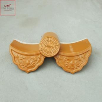 Ngói âm dương sen kép, chữ thọ men vàng hổ phách - cỡ trung 01