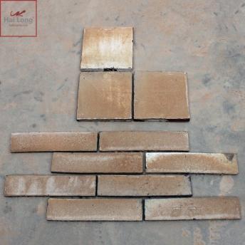 Gạch thẻ ốp tường men khô nâu gấm Bát Tràng