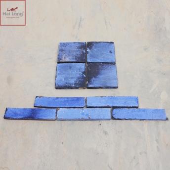 Gạch thẻ ốp tường men khô lam gấm