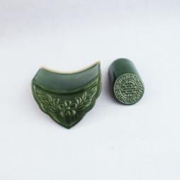 Ngói âm hoa mai, chữ thọ men xanh đồng - cỡ nhỏ
