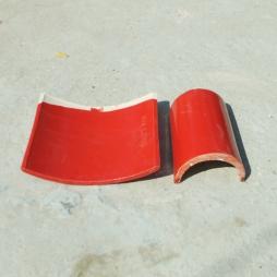 Cặp ngói âm dương  men cam đỏ cỡ trung