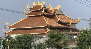 Ngói âm dương lợp chùa Thiện Phước Vĩnh Long