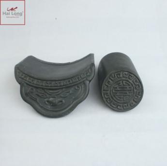 Ngói âm dương hổ phù, chữ thọ men ánh thép- cỡ trung 01