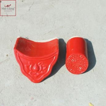 Ngói âm dương sen đơn men đỏ cờ 01