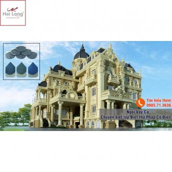 Biệt thự Pháp cổ dùng ngói Hải Long men xanh đen 01